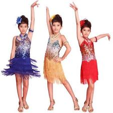 Cute Vogue Kids Girl Sequined Latin Dancewear Kid Dance Dress Stage Show Costume
