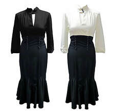 40's Pin Up Black Off White Tie Back High Waist Long Blouse Style Sleeved Dress