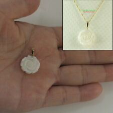 """14k Yellow Gold Hand Carved Rose Genuine White Mother of Pearl Pendant 0.87 """"TPJ"""