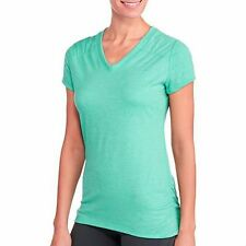 Danskin Now Womens Short Sleeve Semi-Fitted V-Neck Active Tee w/ Ruching XS(0-2)