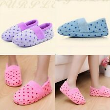 Women Lady Winter Warm Soft Anti-Slip Cute Dots Indoor Home Cotton Slipper Shoes