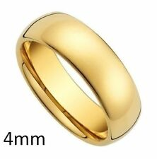 GF 18KT YELLOW GOLD 4MM PLAIN BAND WEDDING RING COMFORT FIT DOMED INSIDE AND OUT