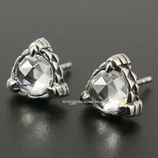 316L Stainless Steel White CZ Stone Triangle Claw Fashion Stud Earring 4X020A