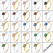Gold Filled Crystal Crystal/Cubic Zirconia Multicolor Band Ring Size 6 7 8 9