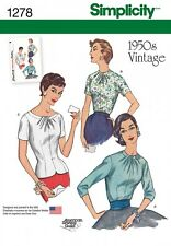 Simplicity Ladies Sewing Pattern 1278 1950's Vintage Style Blouses (Simplicit...