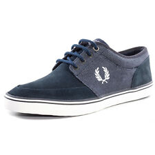 Fred Perry Stratford Mens Canvas & Suede Navy Trainers