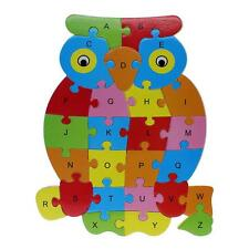 Novel Kids Early Educational Alphabet Puzzle Colorful Cartoon Animal Wooden Toy