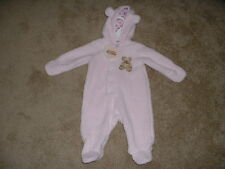 CUDDLE BEAR PINK FLEECE PRAM SNOWSUIT 3 6 months 3M 6M NWT NEW BABY INFANT GIRL