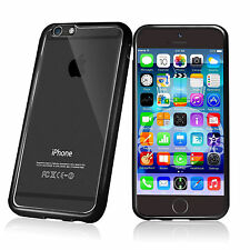 BLACK CLEAR Hard Back Silicone TPU Bumper Case Cover For Apple iPhone 6 6s