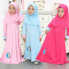 Muslim kids Girls Maxi Dress+Hijab Islamic Full Cover Child Abaya Dresses Sets