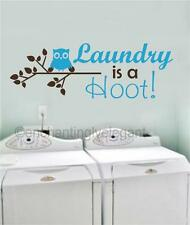 Laundry Is A Hoot Vinyl Decal Wall Sticker Words Lettering Laundry Room Decor