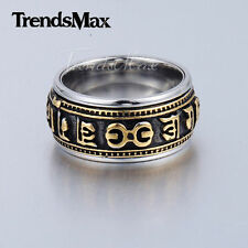 8/10mm Mens Silver/Gold Tone Magic Runes Band Ring 316L Stainless steel Ring