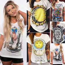Womens Casual Crew Neck Short Sleeve Tops Shirt Blouse Floral T-Shirt Summer Tee