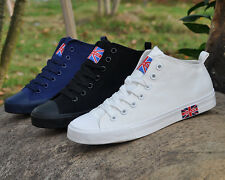 Canvas Shoes Men's British flag High Help Sports Leisure Breathable Rubber Soled