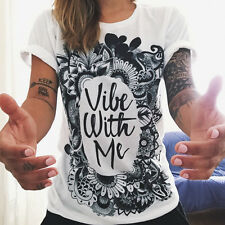 Womens Short Sleeve Loose Shirt Casual Summer Blouse T-Shirt Grunge Graphic Tee