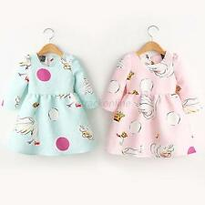 Baby Kids Girls Princess Swan Print Tutu Skirt Long Sleeve One-Piece Dress 2-7Y