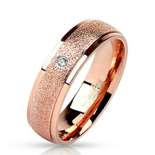 Sanded Center CZ Rose Gold IP Stainless Steel Wedding Band Couple Mens Ring