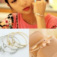 Fashion Charm Women Flower Crystal Gold Plated Cuff Bracelet Bangle Jewelry Gift