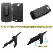 2 in 1 Ribbed Case Belt Clip Kickstand Holster Fr Samsung Galaxy Note II 2 N7100