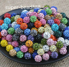 Free Ship 20pcs Disco Ball Pave CZ Crystal Spacer Beads Fit Bracelet 8 10 12mm