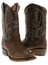 boys kids youth cognac brown real leather casual western cowboy boots square toe