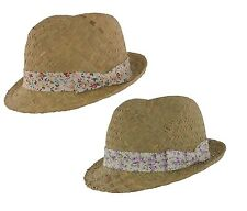 The Hat Company Ladies Summer Straw Trilby with floral cotton band S151