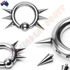316L Surgical Steel Easy Snap In Captive Bead Ring, 6 Internally Threaded Spikes