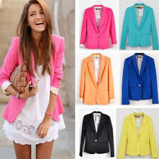 Fashion Spring Lady Candy Color Slim Fit One Button Suit Blazer Coat Jacket Tops