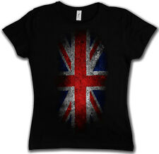 VINTAGE UK UNION JACK Flag GIRLIE SHIRT - England Great Britain FLAG Royal Girl