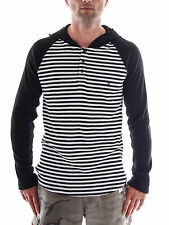 Hurley Hoodie Stripes Knit black white Buttons striped