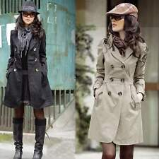#MS# Women's Long Sleeve Slim Fit Long Style Trench Double Breasted Coat Jacket