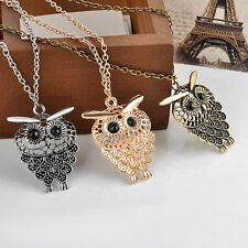 Vintage Bronze Owl Pendant Long Sweater Chain Necklace Jewelry Gift