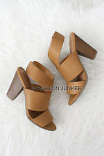 CAMEL BROWN OPEN TOE HEELS Booties Cutout Shoes Stacked Chunky Peep Mules 5-10