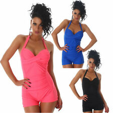 Swimming costume Push Up Halter neck Twist Look Hotpants Overalls with leg F8066