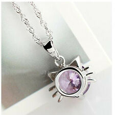Cute Girl Jewelry 925 Sterling Silver Plated Crystal Cat Neko Pendant Necklace