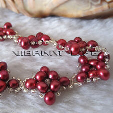 "Cute 8"" 4-5mm Dark Red Off Round Freshwater Pearl Bracelet"