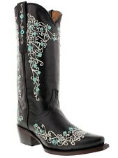 Women's Black Abilene Leather Western Cowboy Boots Rhinestones Rodeo Cowgirl New