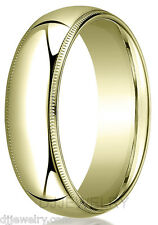 10K Yellow Gold Wedding Band Ring 7mm S11-11.75 Milgrain Comfort Fit 2mm Thick