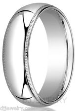 7mm 14K White Gold Wedding Band Ring S8-8.75 Milgrain Comfort Fit 2mm Thick