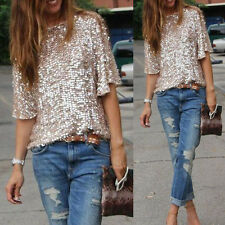 Sequin Womens Lady Sparkle Glitter Tank 3/4 Sleeve Coctail Party Top T-Shirt Top