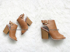 CAMEL BROWN OPEN TOE Booties Shoes Stacked Chunky Heels Ankle Peep Leather 5-10