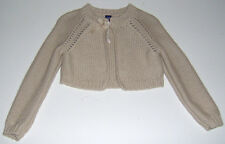 EUC Baby Gap girls solid tan cropped knit sweater cardigan sz 18-24m