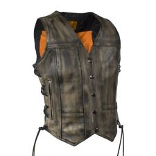 WOMENS MOTORCYCLE DISTRESSED BROWN LEATHER VEST w/ CONCEALED GUN POCKETS - DA74