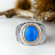 Mens Ring 925 Sterling Silver Blue Turquoise Ring Natural Gemstone 9 to 11 sizes