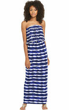South Tall Fringe Tie Dye Maxi Dress In Navy Tie Dye