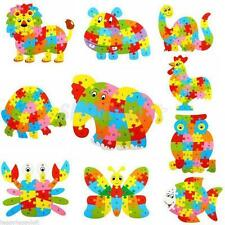 Wooden Animal Puzzle Jigsaw Alphabet Letter Blocks Kid Learing Educational Toy