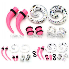 4 Pair Acrylic Horn Spiral Ear Tunnel Plugs Ear Stretching Expander Ear Gauges