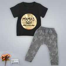 2 pcs Boys Kids Outfits Toddler Sets T-Shirt Pants Tops Newborn Infant Suits EC