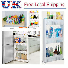 Slide Out Kitchen Trolley Rack Holder Storage Shelf Organiser on Wheels 3/4 Tier