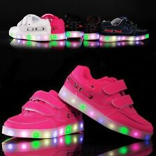 Boys Girls Colorful LED Light Up Sports Velcro Sneakers Kids Dance Shoes Casual